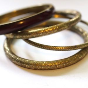 Set of four vintage  Brass Bangle Bracelets